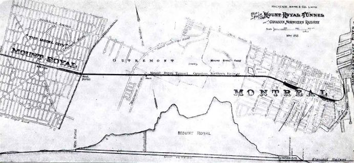 1913 map showing the underground railway connection between the Town of Mont Royal and Montreal.